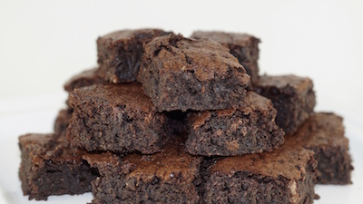 stack of gourmet dark chocolate brownies