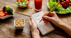 writing down diet plan in a notebook