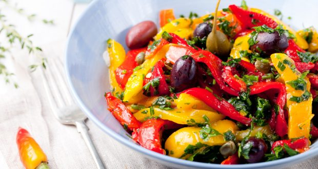 Roasted vegetable salad in white bowl