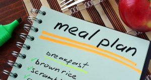 notebook listing meal plan
