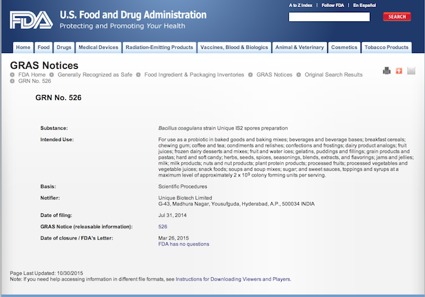 FDA GRAS (Generally Recognized As Safe) Notice for Unique Strain IS2 Bacillus coagulans