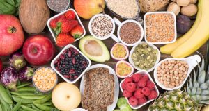 Selection of foods rich in fiber