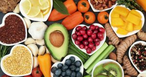 Assortment of heart healthy foods in heart shaped bowls