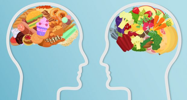 Illustration of two brains-one filled with healthy foods, the other with junk foods
