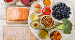 Plate full of brain-healthy foods