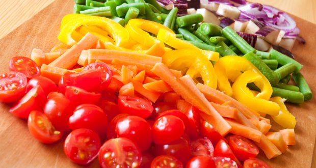 Selection of colorful veggies like a rainbow