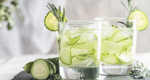 Glasses filled with cucumber infused water