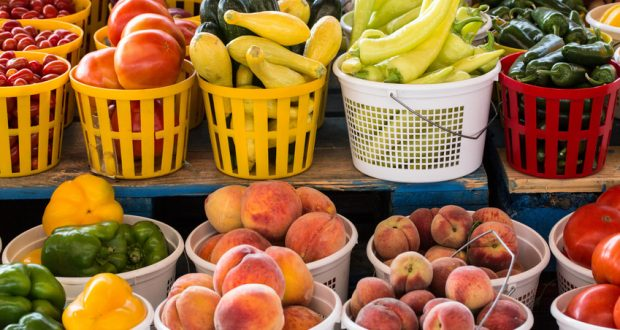 Selection of fresh fruits and veggies at Farmer's Market