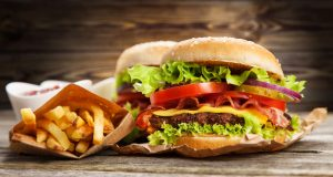 Large fast food burger and fries