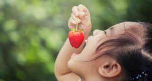 Happy young girl eating a strawberry