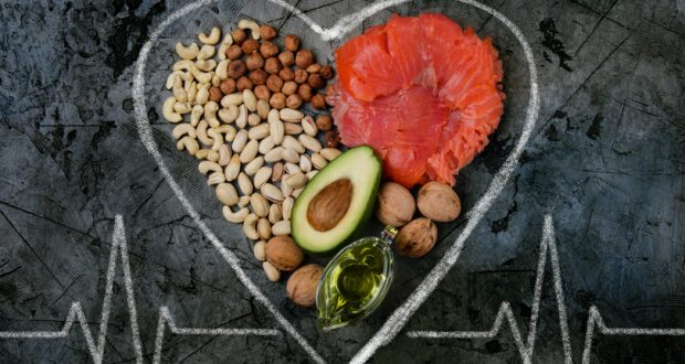 foods with healthy fats inside a heart shape