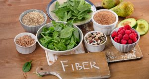 Fiber-rich foods on wooden table