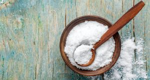 coarse salt in wooden bowl