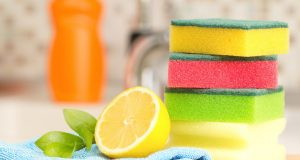 Stack of sponges on kitchen counter