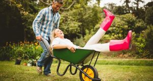 Smiling man pushing laughing woman in wheelbarrow